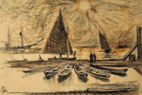 Постников В.Г. (1899-1957). В яхт-клубе. 1930-е
