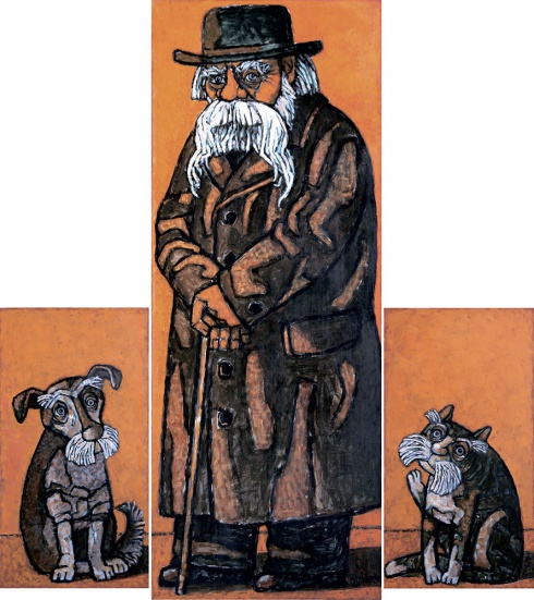 Трубин Д.А. Род. 1961.Триптих «Сказочник Степан Григорьевич Писахов». 2008