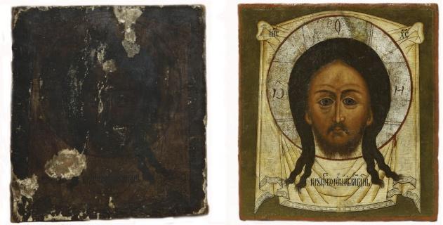 Хоругвь «Святитель Николай, Спас Нерукотворный»