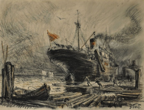 Погрузка круглого леса на пароход. 1930-е