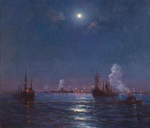 Лунная ночь на Северной Двине. Середина 1950-х