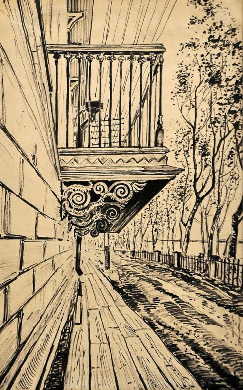 Балкон старинного особняка. 1930-е