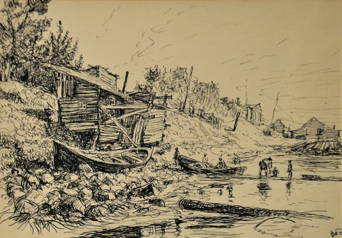 Берег Северной Двины. 1940
