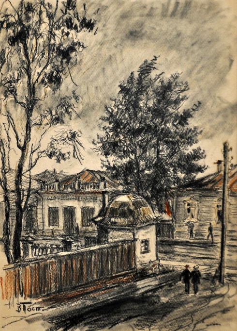 Угол ул. П. Виноградова и улицы Садовой. 1940 год