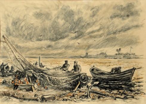Ремонт невода. Рыбаки-сёмужники. 1930-е