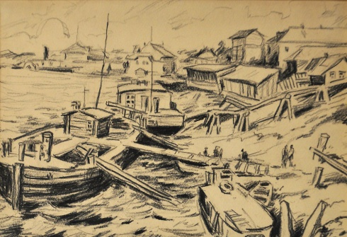 Набережная Котласа у пристани пароходства. 1930-е