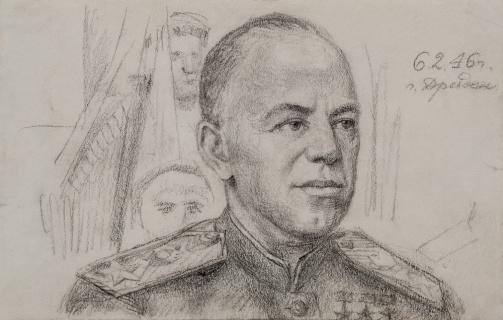 Маршал Г.К. Жуков у Катуковцев в Дрездене 1946