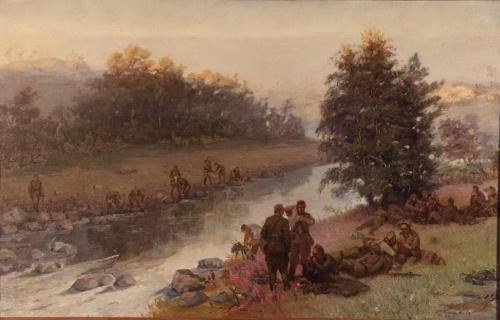 Привал бойцов на реке Кола.  1946