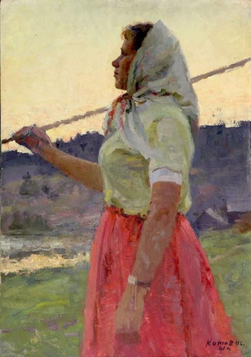 Портрет девушки в красной юбке. 1961