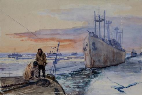 Проводка каравана в Белом море. 1944